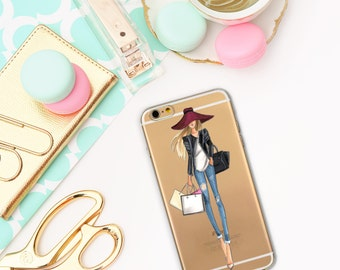 Fashion girl case, Transparent iPhone 5/5S/SE/6/6S cases, iPhone 5/5S/SE/6/6S, Aquarell case