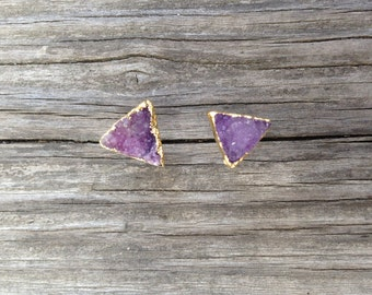 Triangle Druzy Stud Earrings, Gold Plated Druzy Earrings, Druzy Studs, Geometric Triangle Studs