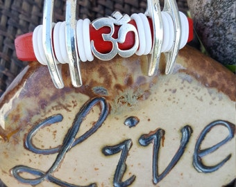 Red OM Chunky Leather Bracelet, Red Leather Bracelet, Om Bracelet, Leather,