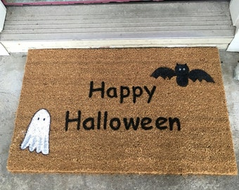 Custom Door Mat, Halloween Door Mat, Happy Halloween Door Mat, Hand Painted Door Mat, Painted Doormat, Doormats, Door Mat, Original Doormats