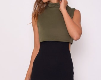 Khaki and Black cut out dress PBS/S8