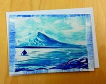 Art card / Encaustic Art, Scottish Lochs & Mountains, Tranquility