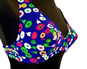 Vtg 70s floral swimwear 2 piece swimsuit