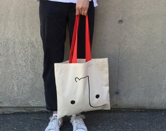 Tongue Tote –Canvas Bag with Red Handles
