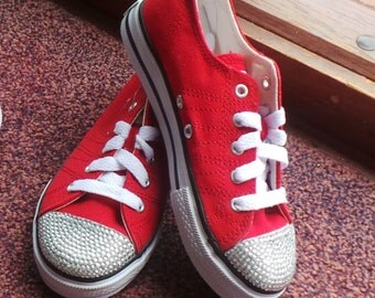 Red Childrens Customised Canvas Trainers