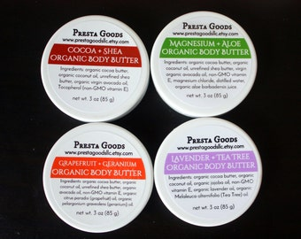 Organic Body Butter - Cocoa Butter / Shea Butter / Coconut Oil / Essential oils