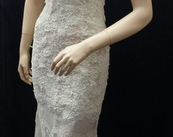 French Chantilly Lace Mixed with Alencon Embroidery Wedding Gown