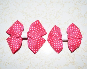 Pink swiss dot boutique style girls hair bow