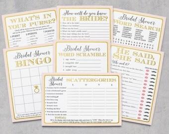 Bridal Shower Games, Pink Gold Games Package, Retro Vintage Bridal Pack, Bridal Game Activities, Bingo, Instant Download