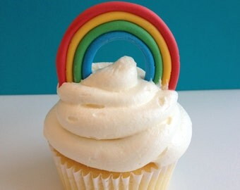 24 Edible Fondant Rainbow Cupcake Toppers