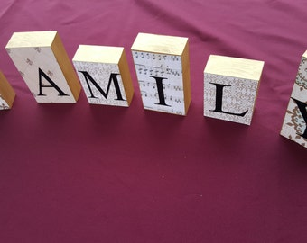 Family block mantel shelf letters