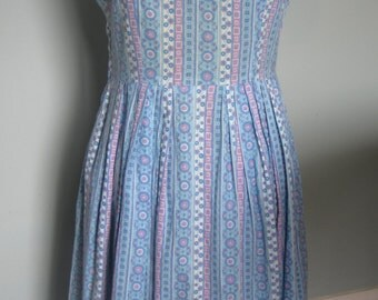 1950s handmade cotton V neck pleated sleeveless day dress predominantly blue an purple