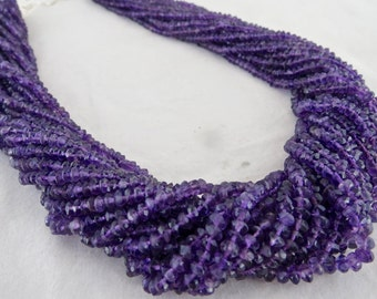 Exclusive 17 Line AMETHYST FACETTED Round Beads NECKLACE With 925 Silver Hook