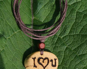 I Love You Necklace, Inspirational Necklace, Handmade Jewelry, Oak Pendant, Quote Necklace, Word Jewelry, Natural Jewelry, Organic Jewelry