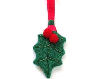 Christmas tree decoration - felt holly leaf with berries. Xmas ornament