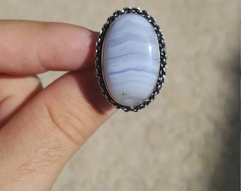 Unique Blue Lace Agate Ring Size 8 Sterling Silver Gorgeous Blue And White Lines Hand Picked Stone