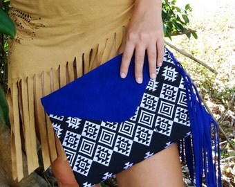 blue suede fringed clutch