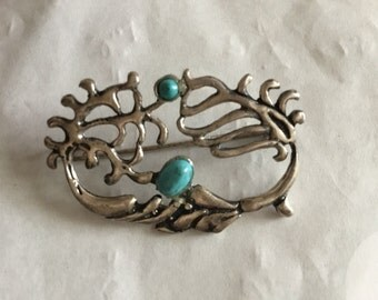 Vintage Stirling Silver Turquoise Brooch - 1970's