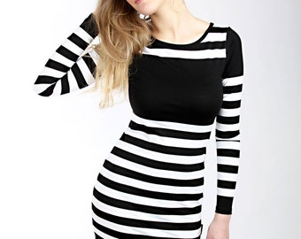 "Lee ""Konfetty"" dress ladies black stripes"