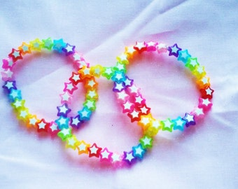 CLEARANCE Kawaii Decora Rainbow Stars Bracelets Set of 3