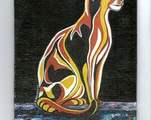 Abyssinian cat stylized. Reproduction from personal painting. Cat, Abyssinian cat, painting, table, ready to hang, canvas board