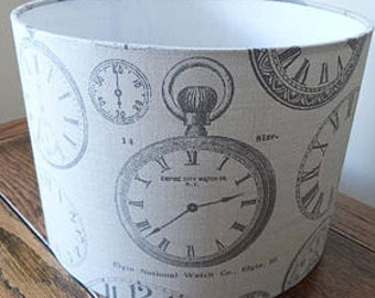 Vintage Clocks Fabric Handmade Lamp Shade