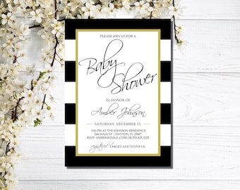 Baby Shower Invitations, black and white baby shower invitations, printable baby shower invites, custom, instant download