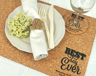 Wedding Decoration Placemats, Personalized Wedding Cork Placemats -  Set of 12
