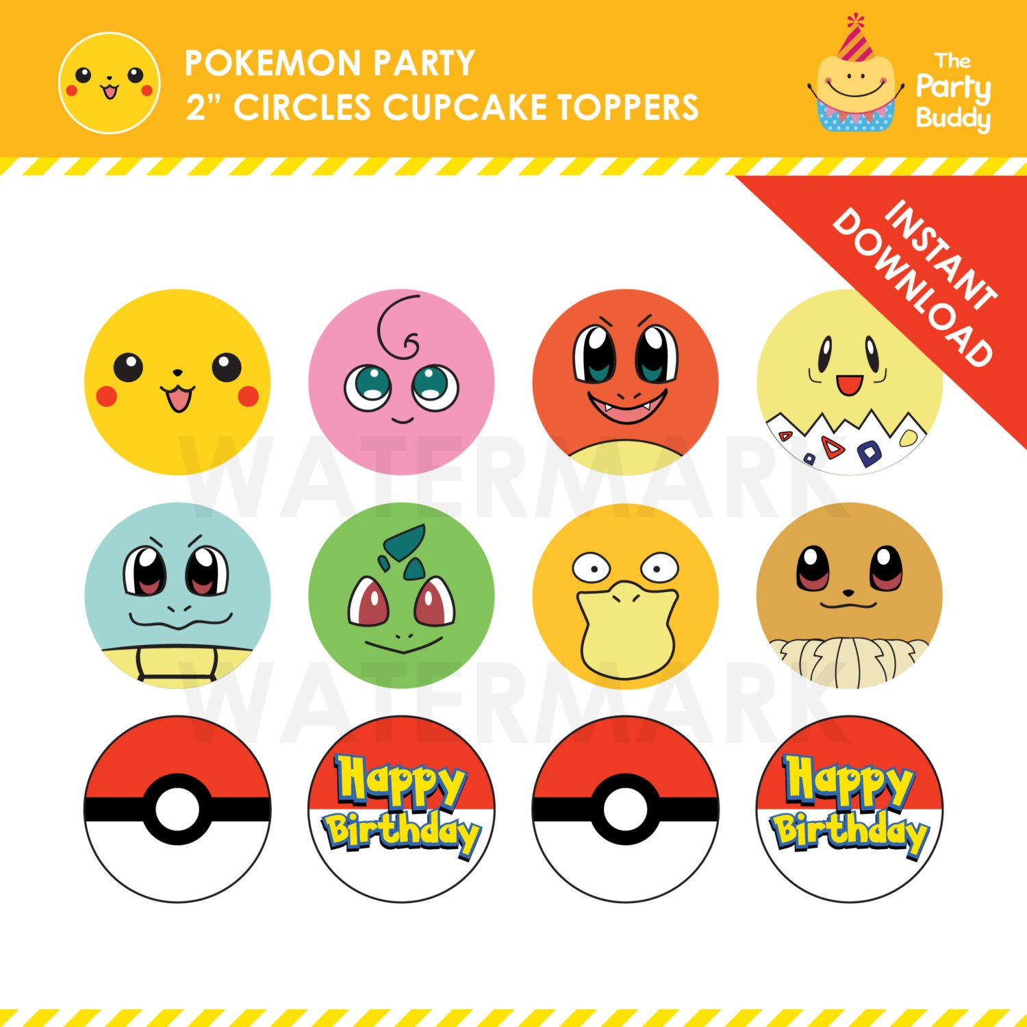 Pokemon Party Cupcake Toppers Set of 10 INSTANT DOWNLOAD