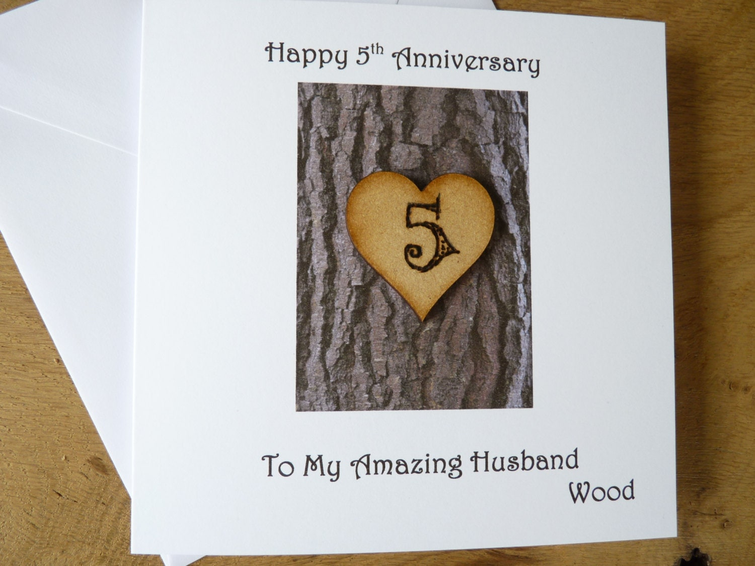 5th Wedding Anniversary Traditional Gifts: 5th Wedding Anniversary Card Five Years Wood Gift 5th