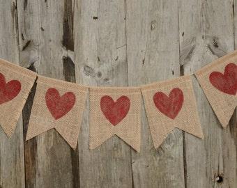 Burlap banner, Heart banner, Party, Love