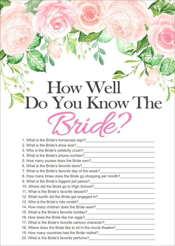 Unusual image throughout how well do you know the bride free printable