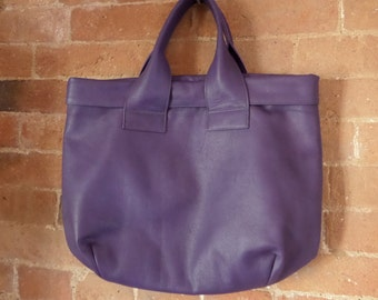 Purple leather print lined soft tote bag