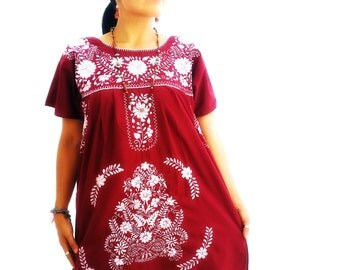 Burgundy Mexican Embroidered Hippie Dress