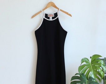 Vintage 1990s Varsity Black Halter Dress