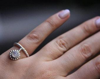 Karuna Ring : Moonstone Ring, Rainbow, Pinky, Signet, Midi, Sterling Silver 925, Gemstone ring, Stone ring, Handmade