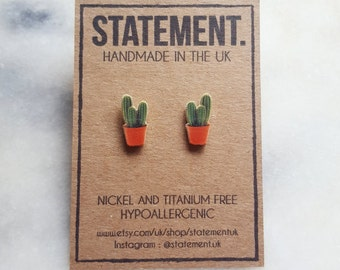 Cactus Plant Stud Earrings - 1 pair
