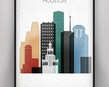 Houston Skyline Print, Houston Poster, Texas Pastel Cityscape, Houston Cityscape, City poster, Houston City Wall Decor, Digital Print