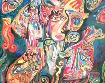"Painting on canvas by Svetlana Vysokovskikh ""AQUARIUM"", 86 x 68 cm frame"
