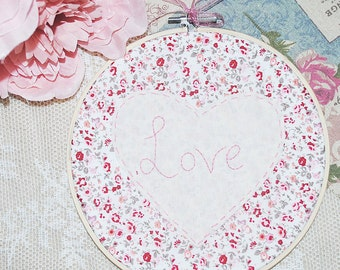 Love heart hand stitched embroidery hoop