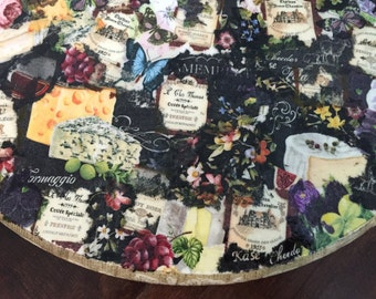 15 inch Lazy Susan Wine and cheese decoupaged theme