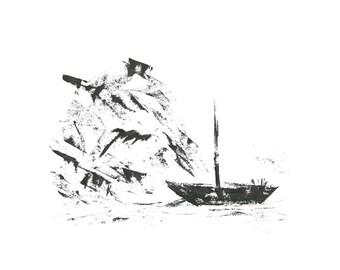 Boat near Rocks - Original Painting