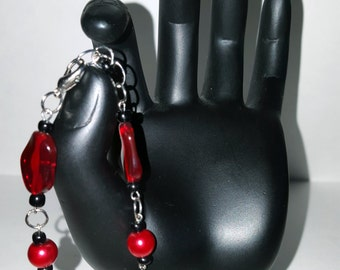 Silver Chain Bracelet with Red and Black Glass Beads