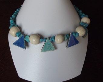 Necklace blue and turquoise raku ceramic and turquoise gemstone beads