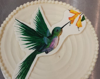 Hand Painted Hummingbird Cake Topper Plaque