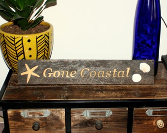 Gone coastal fun beach house wooden sign for home decor  nautical decor