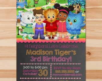 Daniel Tiger Birthday Invite - Pink Chalkboard - Girl Daniel Tiger Invitation - Daniel Tiger Birthday Party - Daniel Tiger Party Printables