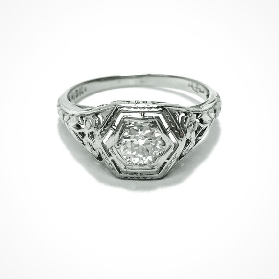 18K White Gold 1/3 Carat Edwardian Art Deco Diamond Engagement Ring with Floral Filigree