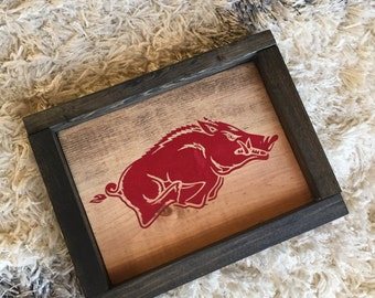 SPORTS wood sign | Custom Sports LOGO | Arkansas Razorback HOGS desktop piece