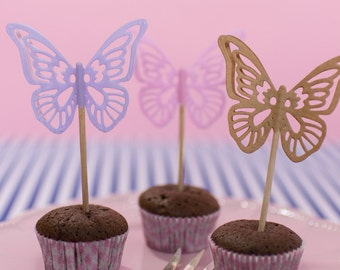 Filigree Butterfly Cake Topper 6 pieces | Geburtstagsdeko paper
